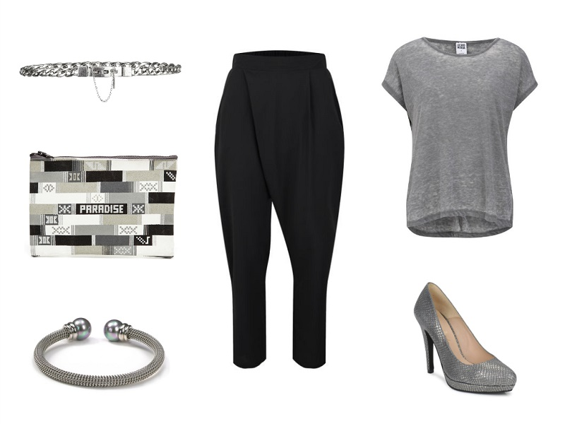 LOVE trousers | VERA MODA t-shirt | MANGO belt | RAINBOW LINK clutch | MAJORICA bangle | BETTY LONDON pump
