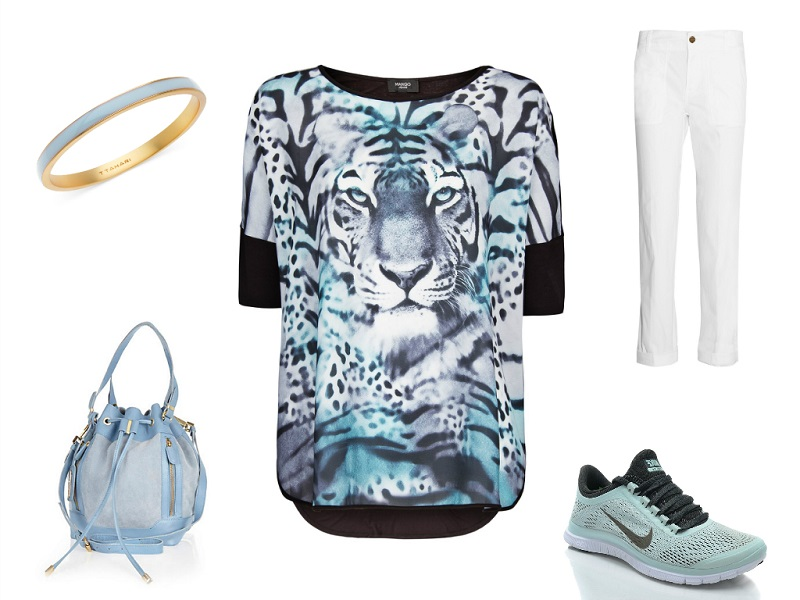 MANGO tee | TORY BURCH trousers | RIVER ISLAND bag | T TAHARI bangle | NIKE trainers