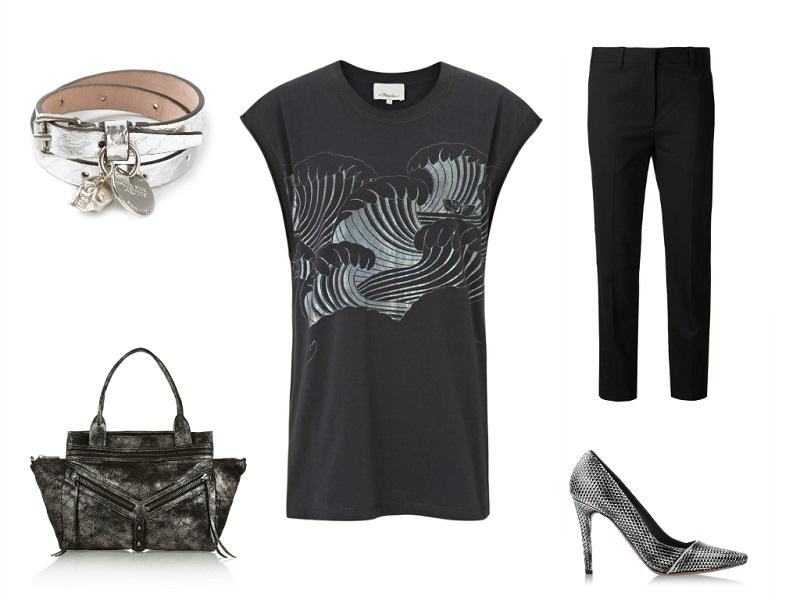 PHILLIP LIM top & trousers | BOTKIER tote | ALEXANDER MCQUEEN bracelet | PROENZA SCHOULER pumps