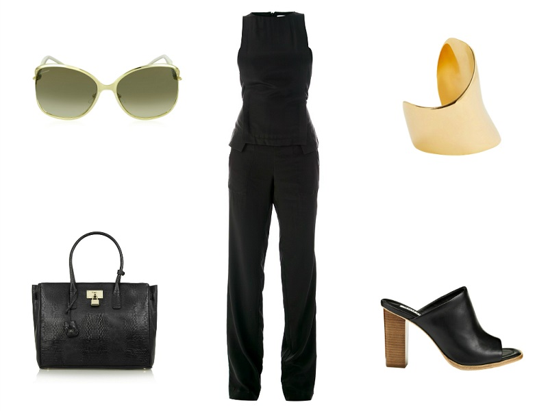 THAKOON jumpsuit | LINDA FARROW sunglasses | MAIYET cuff | DKNY tote | WHISTLES sandals