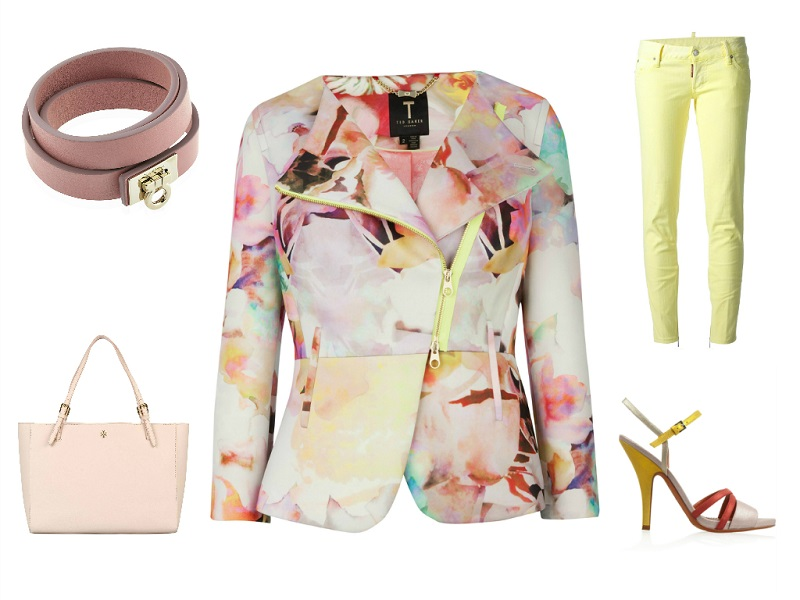 TED BAKER jacket | DSQUARED2 jeans | FERRAGAMO bracelet | TORY BURCH tote | MISSONI sandals