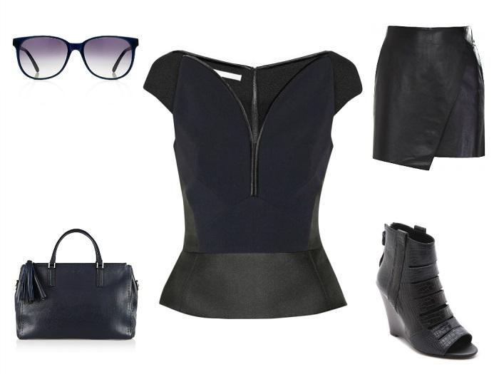 ANTONIO BERARDI top | HELMUT LANG skirt | ANYA HINDMARCH tote | PRISM sunglasses | REBECCA MINKOFF booties