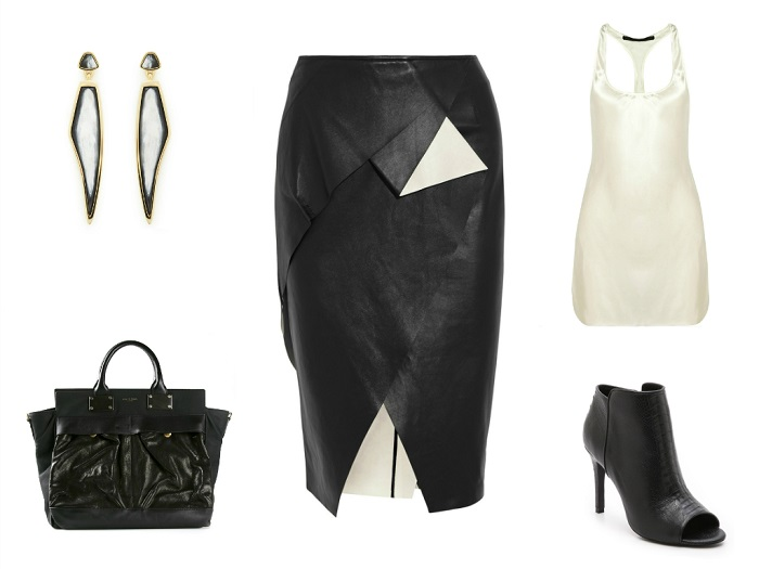 VIONNET skirt | HAIDER ACKERMANN top | MAIYET earrings | RAG & BONE tote | JOIE booties