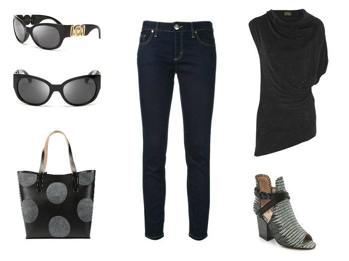 VERSACE jeans & sunglasses | VIVIENNE WESTWOOD ANGLOMANIA top | HOUSE OF HARLOW booties | MARNI bag