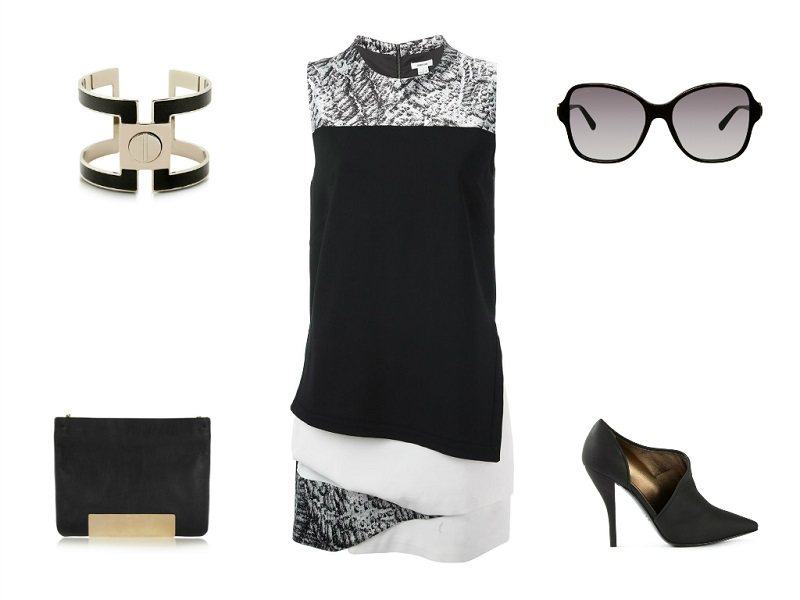 HELMUT LANG dress | PLUMA cuff | BVLGARI sunglasses | JIMMY CHOO bag | LANVIN booties