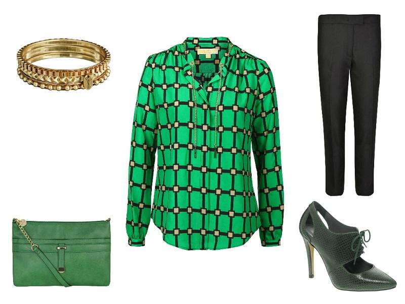 MICHAEL MICHAEL KORS blouse | JOSEPH trousers | JAMIE JEWELLERY bangles | DOROTHY PERKINS bag | ANTIPODIUM FOR ASOS shoes