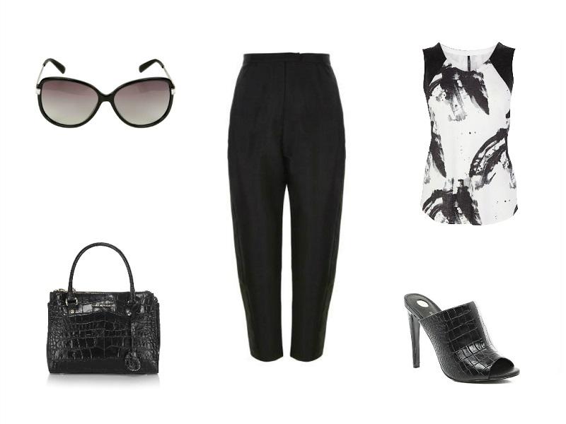 WHISTLES trousers | KAREN MILLEN top & bag | KARL LAGERFELD sunglasses | RIVER ISLAND mules