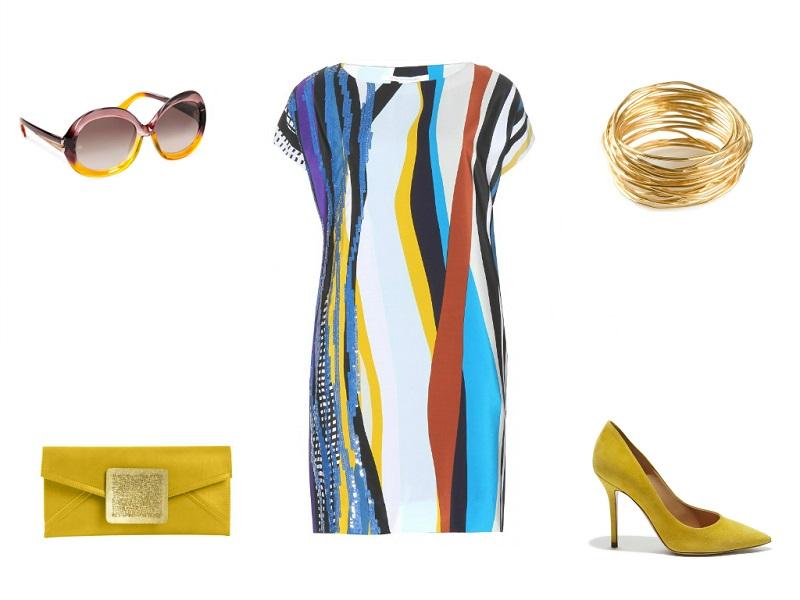 DIANE VON FURSTENBERG dress | BALENCIAGA sunglasses | OSANNA VISCONTI bracelet | DAREEN HAKIM clutch | SALVATORE FERRAGAMO pumps