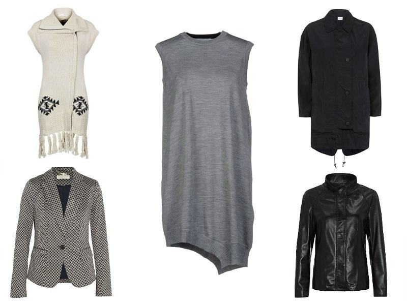 CLOCKWISE: ODD MOLLY coat | ALEXANDER WANG jumper | NICOLE FARHI jacket | JOHN LEWIS jacket | MICHAEL MICHAEL KORS blazer