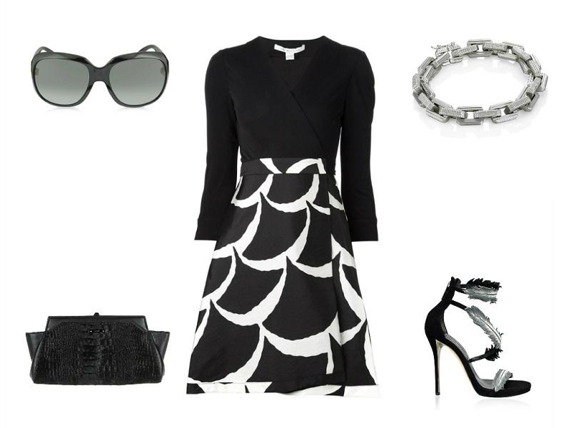 DIANE VON FURSTENBERG dress | MUGLER clutch | OSCAR DE LA RENTA sandal | EDDIE BORGO bracelet | GUCCI sunglasses
