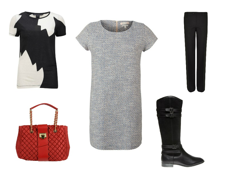 PAUL & JOE SISTER dress | MARC MARC JACOBS t-shirt | MOSCHINO bag | JOSEPH trousers | HUSH PUPPIES boots