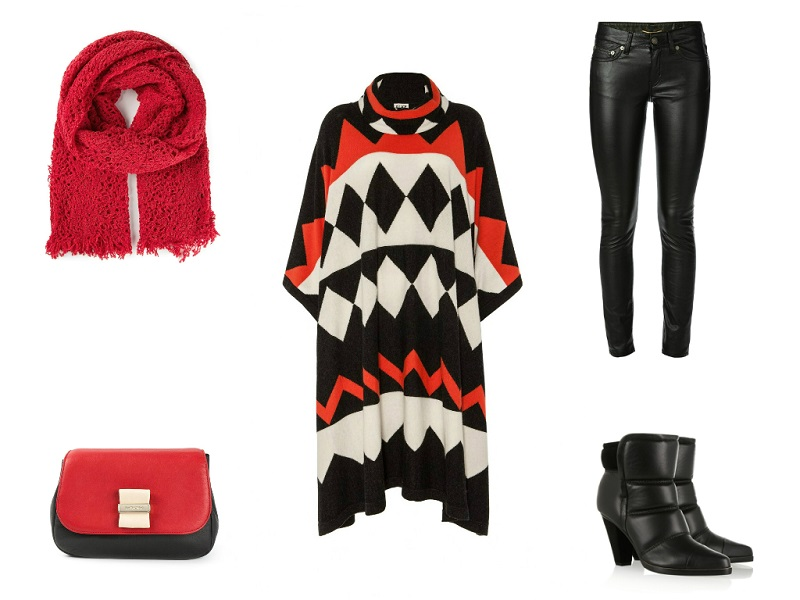 ALICE BY TEMPERLEY poncho | SAINT LAURENT jeans | CHLOÉ boots | ZUCCA scarf | SEE BY CHLOÉ bag