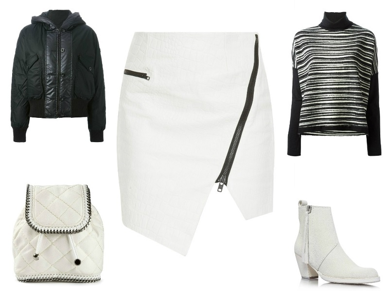 JONATHAN SIMKHAI skirt | HACHE top | DIESEL jacket | STELLA MCCARTNEY bag | ACNE boots