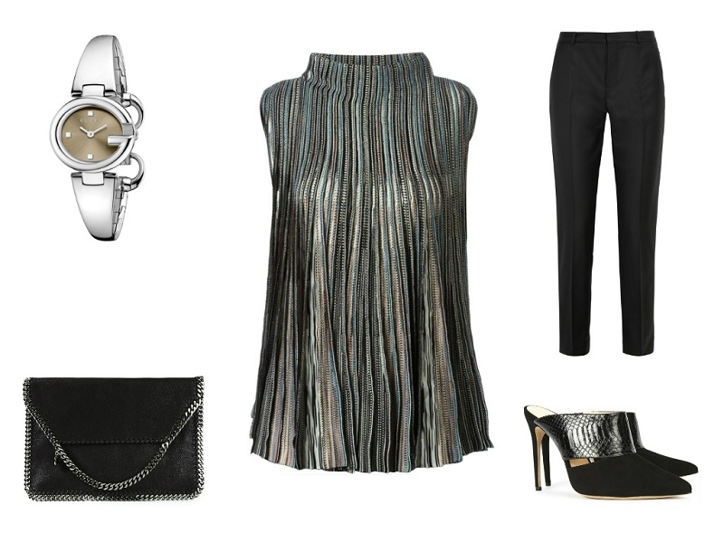 MISSONI top | JOSEPH trousers | STELLA MCCARTNEY clutch | GUCCI watch | ALEXANDRE BIRMAN mules
