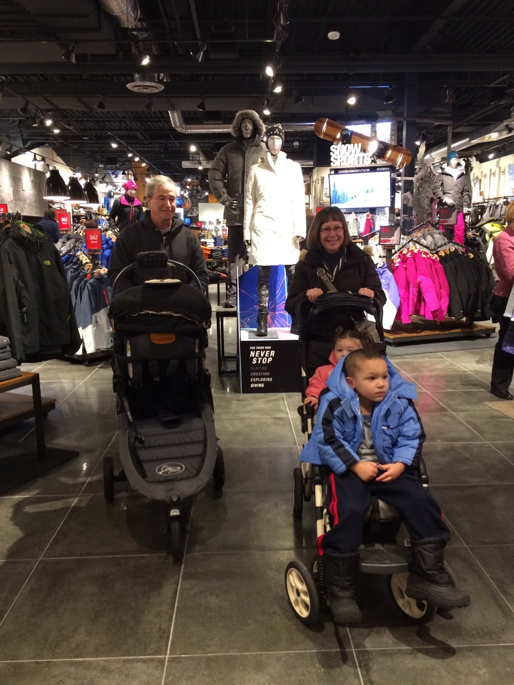 Going for a spin at the Galleria with Ellis, Vivi, Grammy and Papa so Auntie Andrea can find a new coat for the Vikings playoff game.