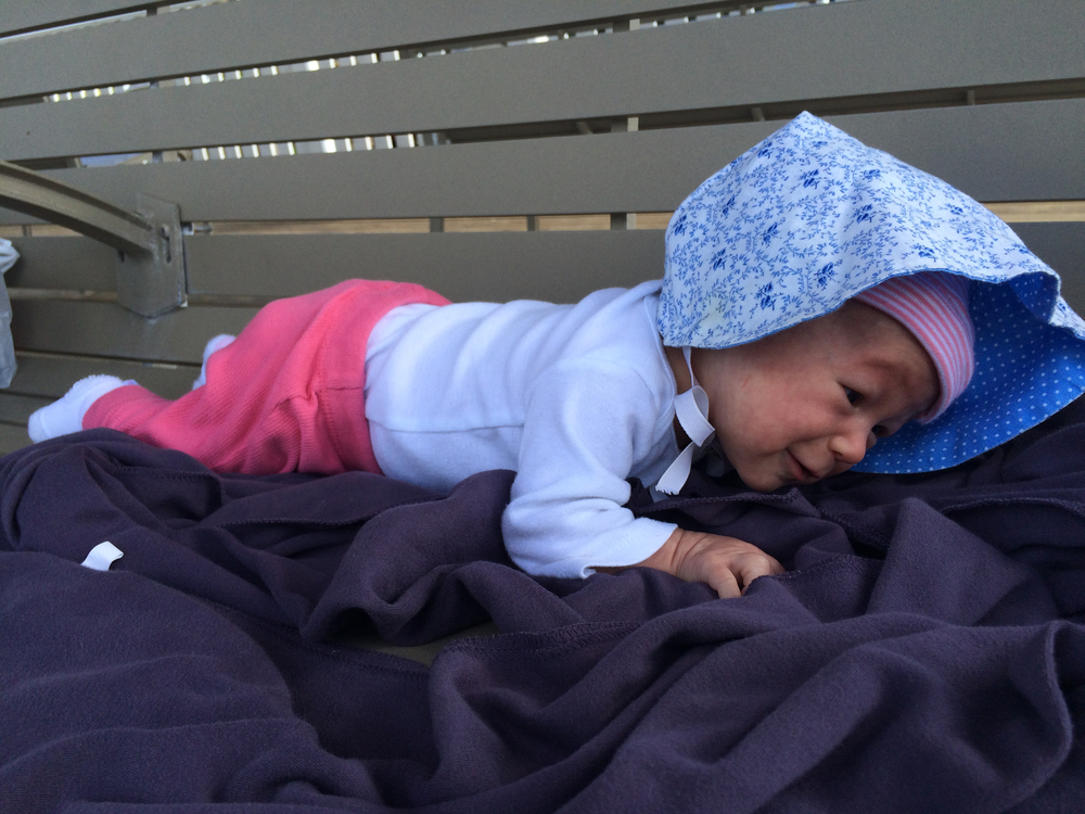 Tummy time by the beach