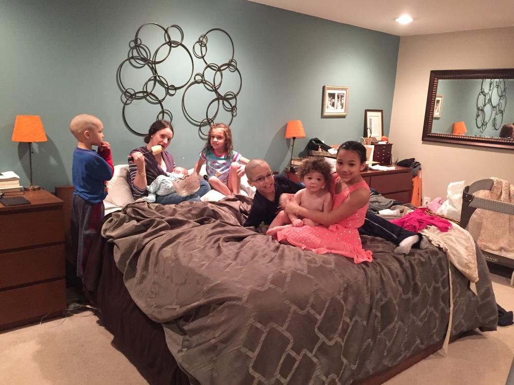 Josie hanging with her older cousins.