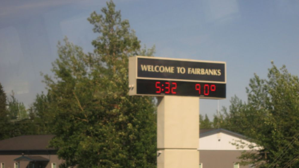Fairbanks was actually 20 degrees higher than at home that week. In the winter, Fairbanks can get down to -50F. Brrr!