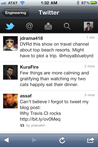 A screenshot of the mobile Twitter app, running inside of Campfire.