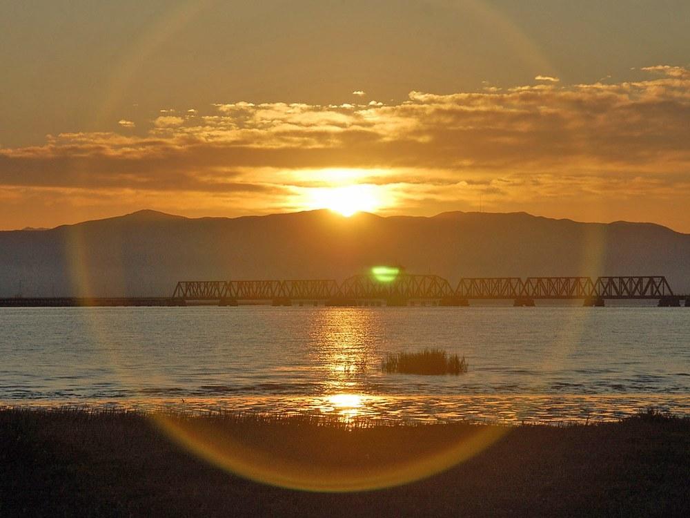 Sun above Railroad Bridge
