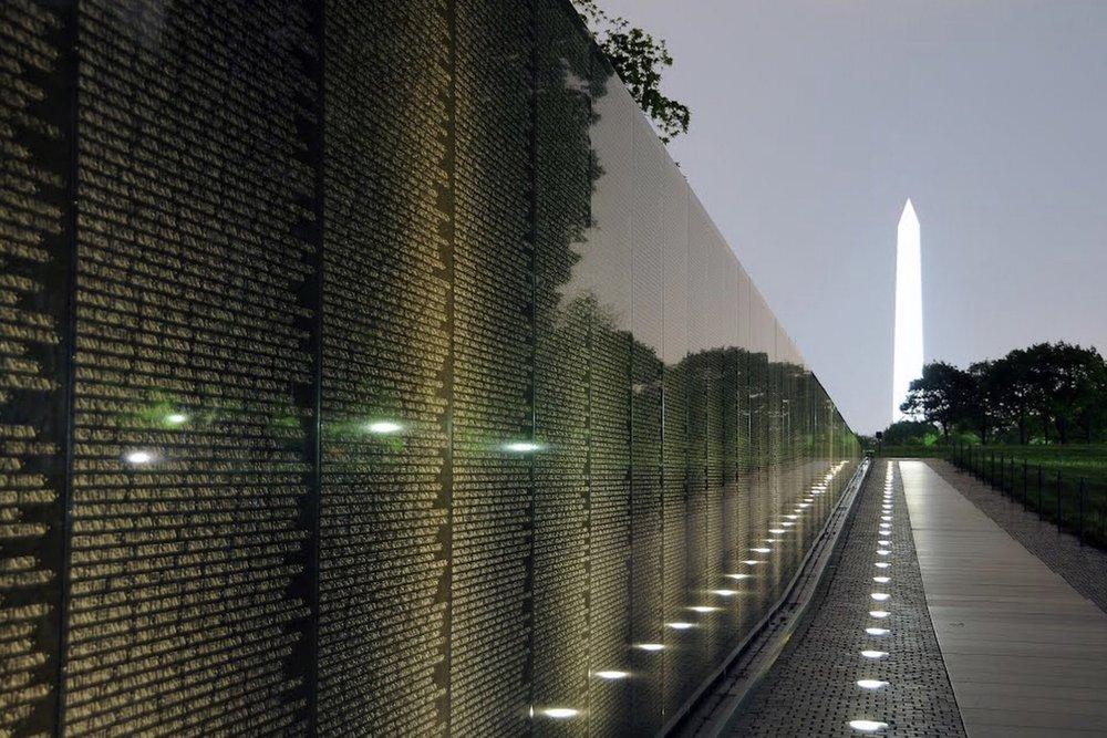 Vietnam Memorial and Washington Monument