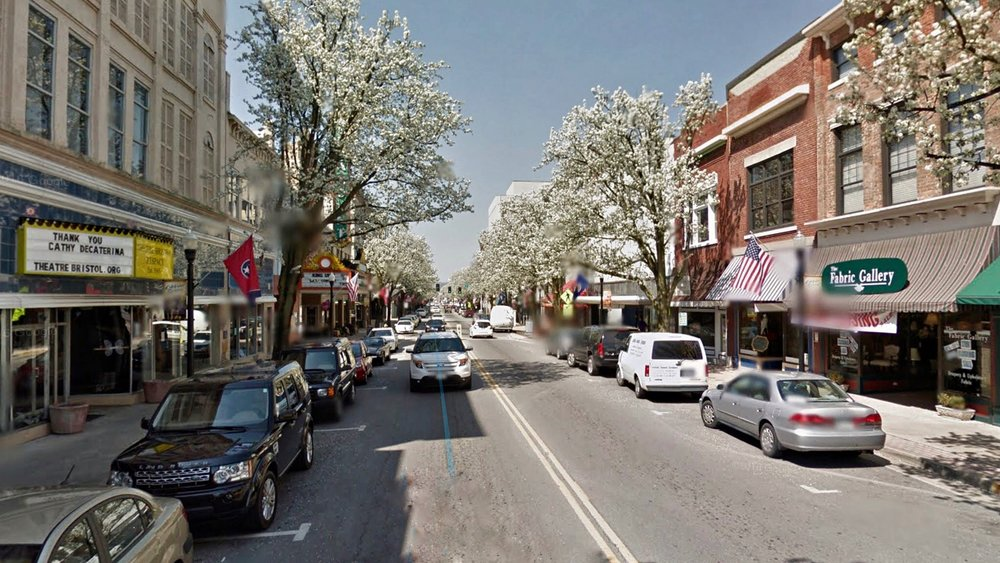 Downtown Bristol: Left = Tennessee, Right = Virginia