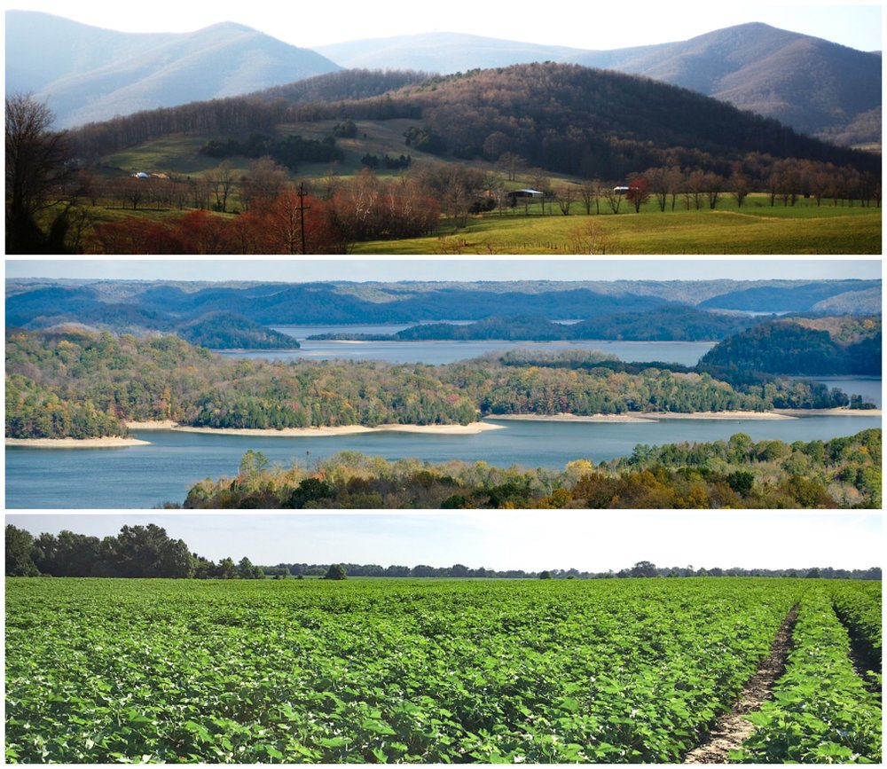 Tennessee mountains, valleys, and cotton fields