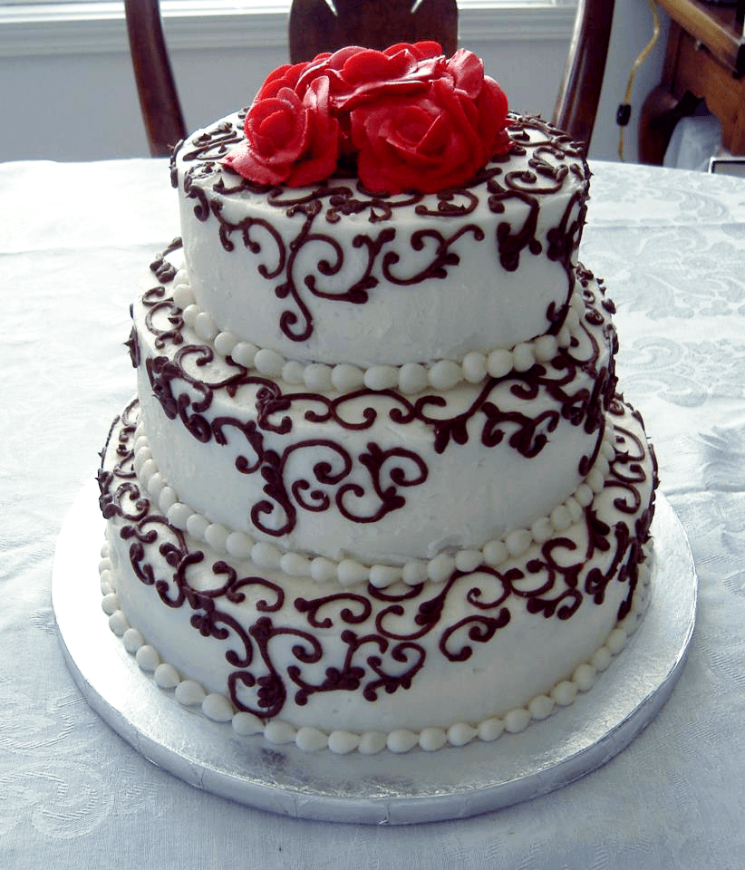 three tier rose cake