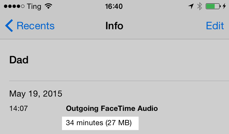 iOS Phone app showing FaceTime Audio data rate.