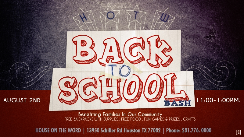 Join House On The Word for our annual Back-to-School Bash taking place Saturday, Aug. 2nd from 11 a.m. - 1 p.m. See you there!
