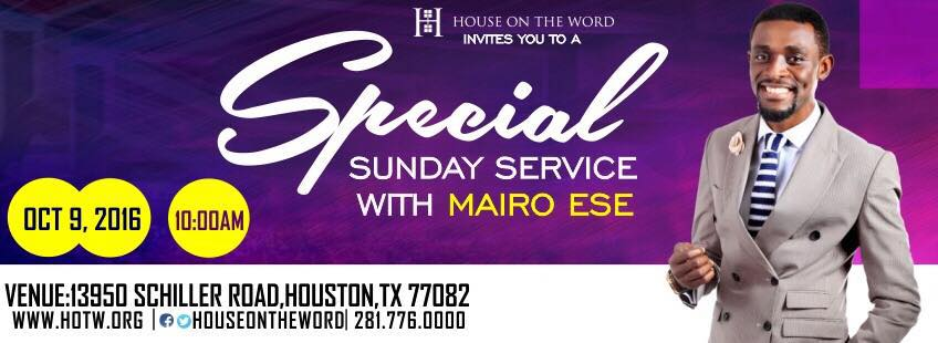 We invite you to join us this Special Sunday for an exciting time of worship and relevant study of God's word.