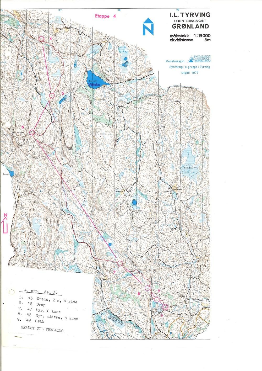Del 2 av 4. etappe 1979 fra Per Kristian Ekeberg. Start: Skoglund Mål: Vestmarksetra