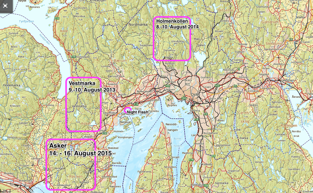 The locations of Night Hawk 2013 - 2015. Welcome experience Norwegian wood! #nighthawkrelay