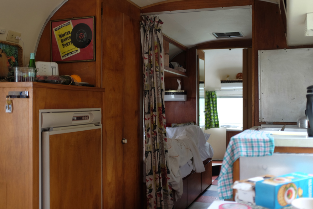 Inside our vintage airstream at Vintage Vacations