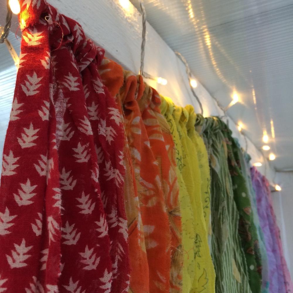 Boho fabric garlands from vintage cotton saris