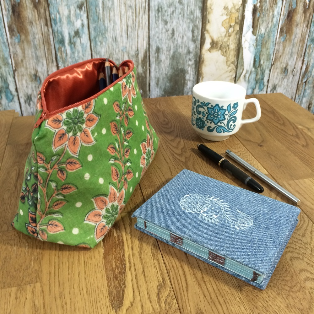 Big zipper pouch from vintage sari cotton and velvety soft denim notebook with woodblock print