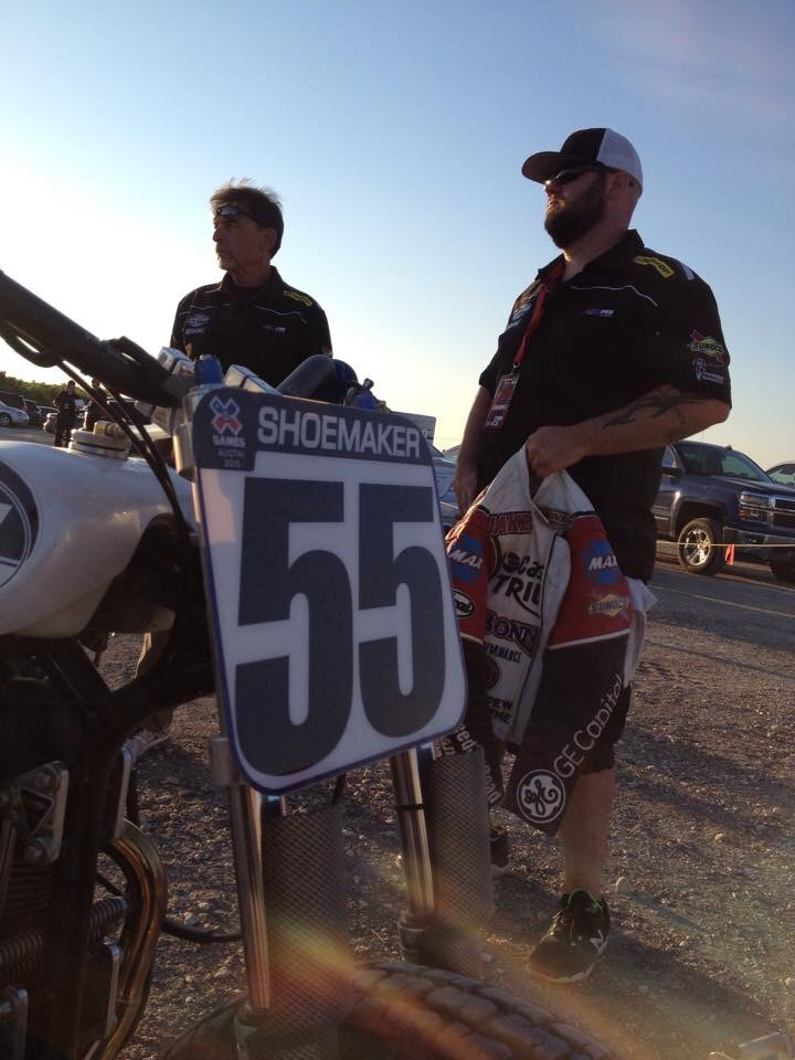 Injured warfighter and Army veteran Rob (right) with Bonneville Performance at the 2015 X-Games Austin.