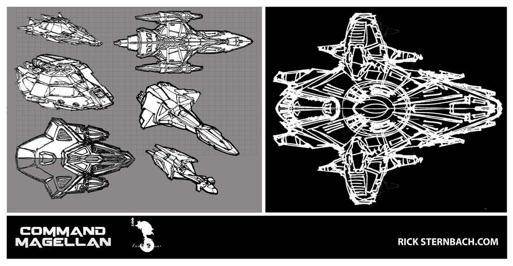 Early  Rick Sternbach   Magellan  ship design roughs.