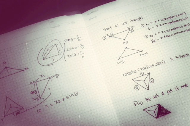 Sketching out how math would work for these triangles. sin and cos replaced numbers to make triangles more dynamic.
