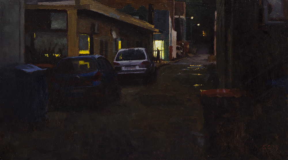 """ Wickham Lane "" - 40 x 22.5 cm - Oil on board -    SOLD"