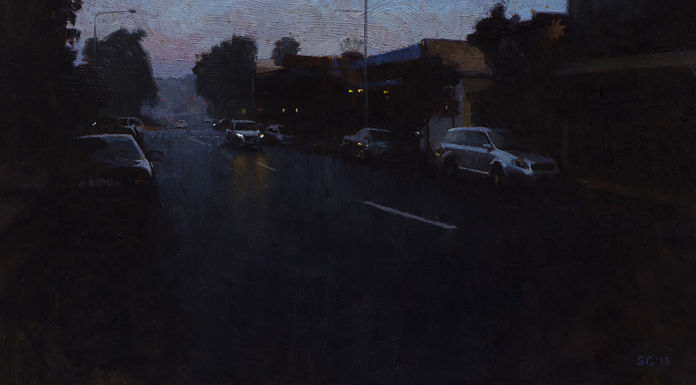 """ Avalon Parade 1 "" - 40 x 22.5 cm - Oil on board -    SOLD"