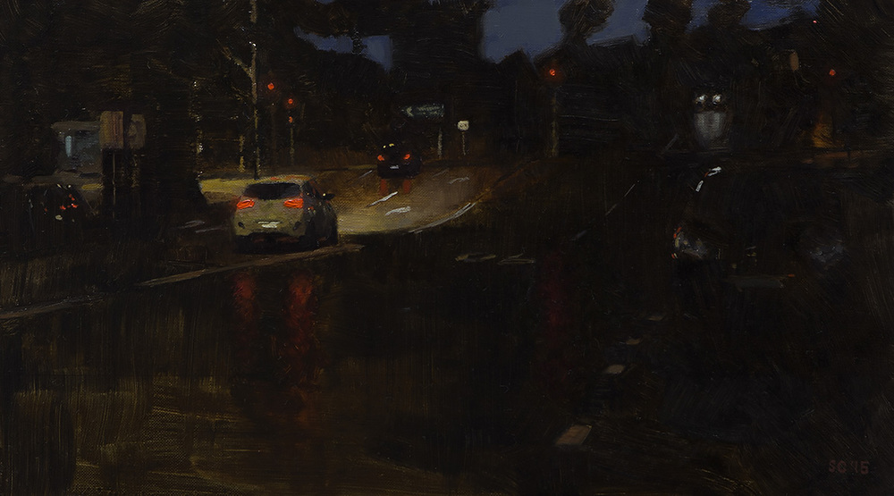 """ Avalon Lights "" - 40 x 22.5 cm - Oil on canvas -  SOLD"