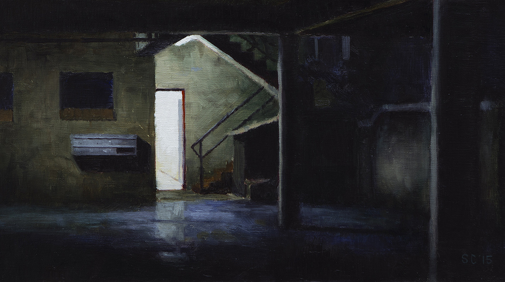 """ Garage "" - 40 x 22.5 cm - Oil on canvas - SOLD"