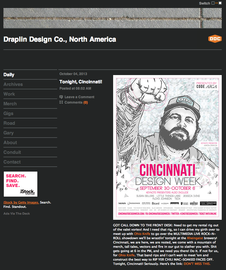 WHBV Poster for CIncinnati Design Week made the front page of the DDC