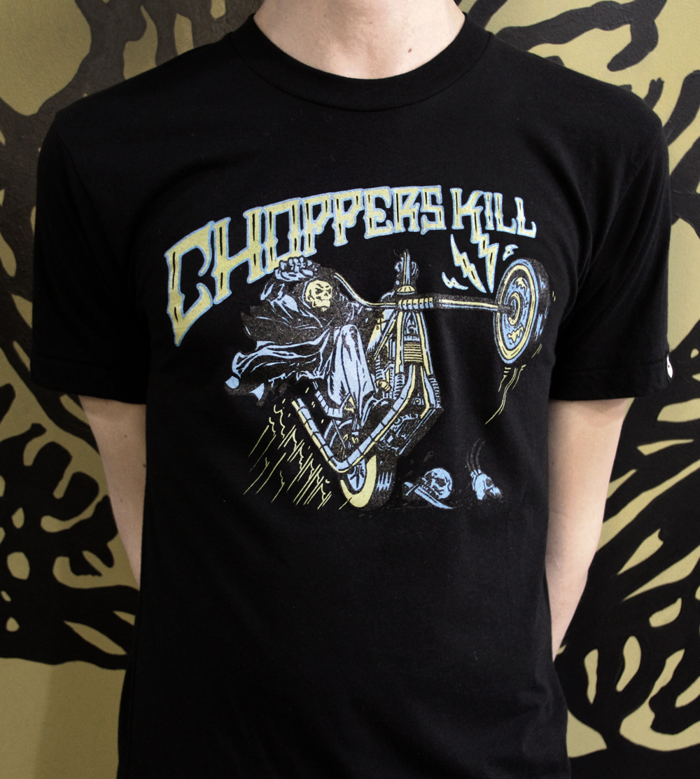 Choppers Kill, WHBV 3-color on Midnight Black American Apparel