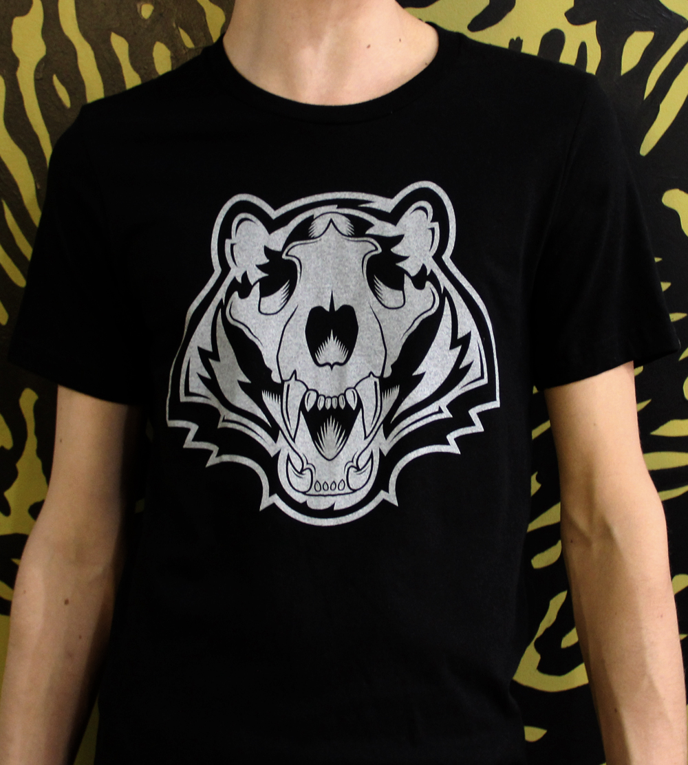 Bengals Skull, White on Midnight Black Tee