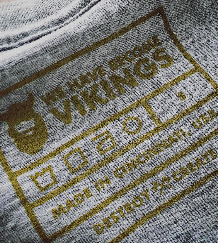 Sleipnir on Athletic Silver Tee WHBV Sleeve Vikings Logo Tags, Inside WHBV Stamped Tag