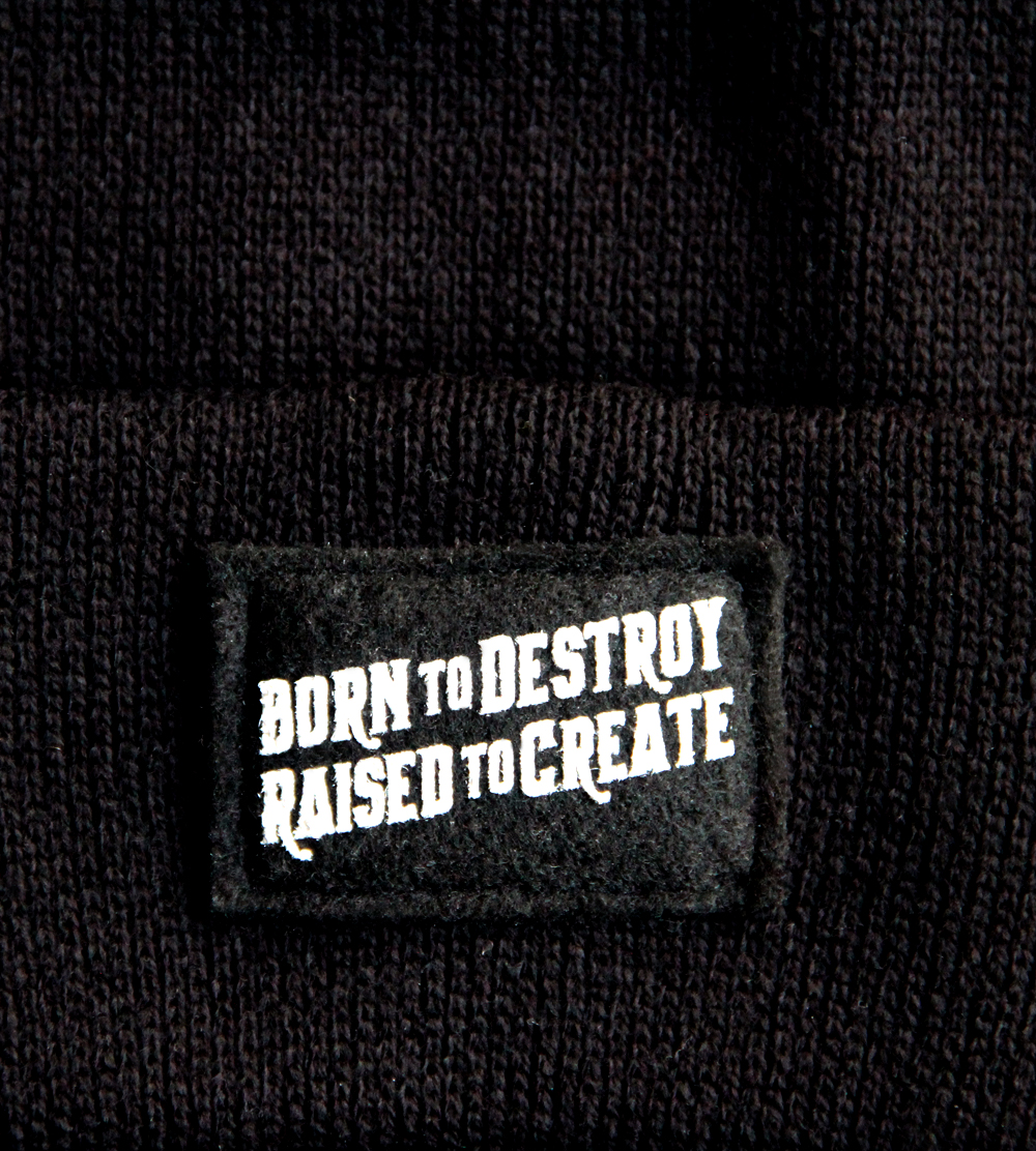 Born to Destroy, Raised to Create Silk-Screened Tag on Felt