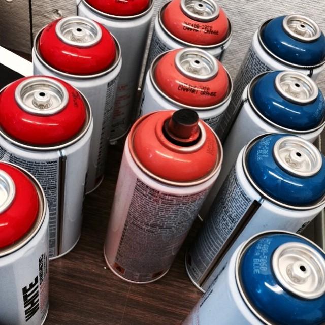 Spray painting the vintage vending machines