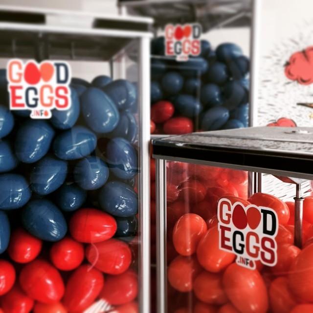 Vintage vending machines holding the Good Eggs